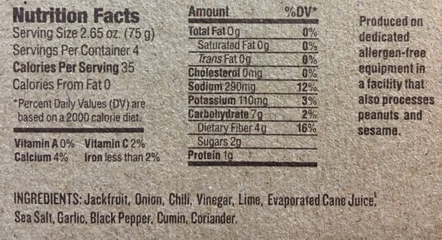 chili-lime-carnitas-nutritional information