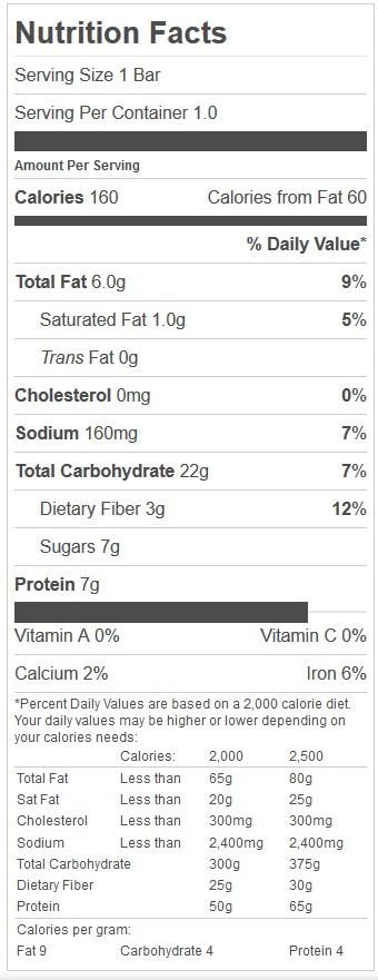 harvest nut bar nutrition facts