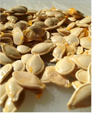pumpkin seeds with pulp removed