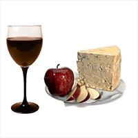 wine and cheese pairing on plate