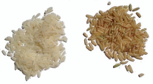 brown and white basmati rice