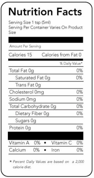 chocolate extract nutrition facts