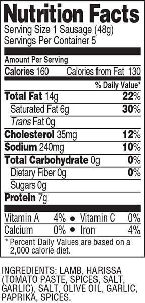 marguez sausage nutrition facts
