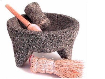 molcajete with tejolote pestle and spoon