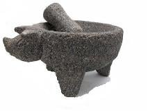 lave stone pig molcajete with turned up snout