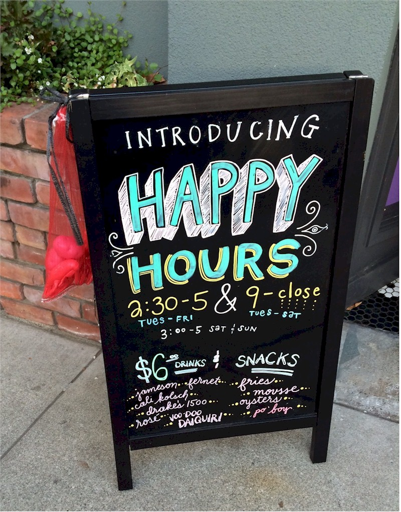 bywater happy hour sign