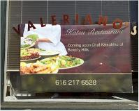 valeriano restaurant katsu sign in window