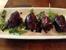 stuffed dates wrapped in bacon at cin cin