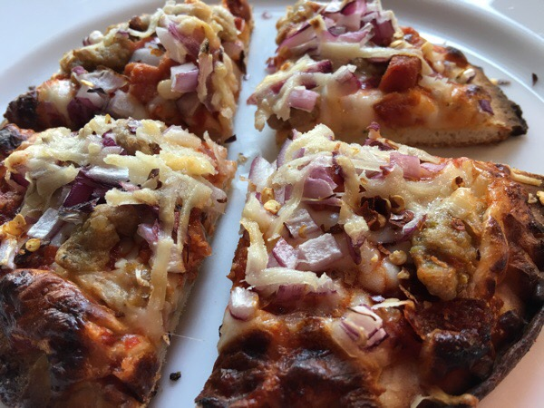 fresh start day 42 dinner sausage pizza