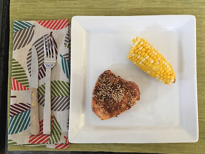healthy living day 10 dinner with napkin