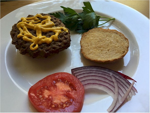 nutrisystem hamburger with condiments on side