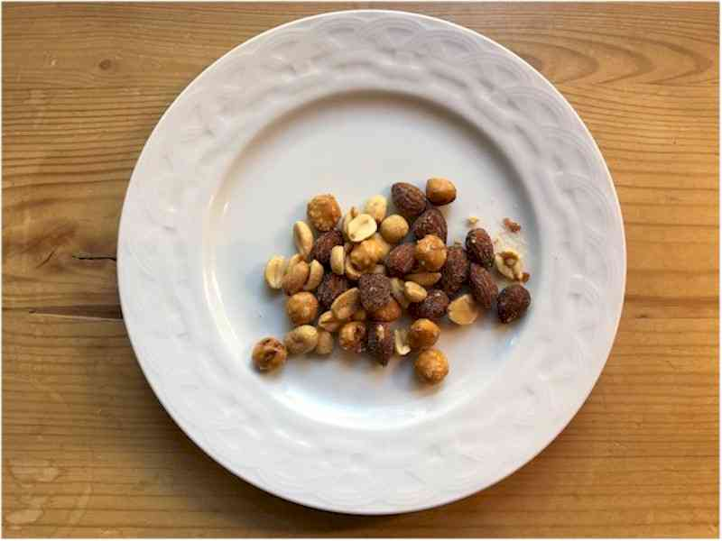 nutrisystem sweet and salty snack mix on white plate