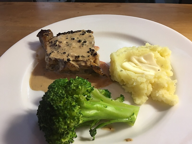 steak au poivre mashed sweet potato broccoli