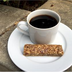 harvest nut bar with cup of coffee