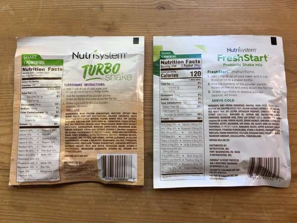 nutrisystem turbo-shake-compared-to fresh start probiotic shake