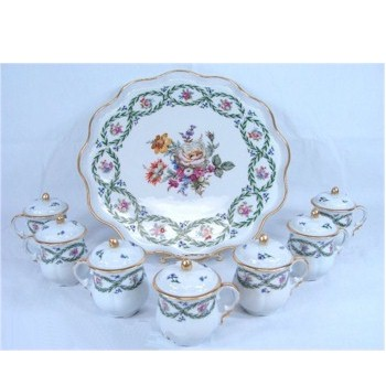 limoges garlands and floral pot de creme set plus tray