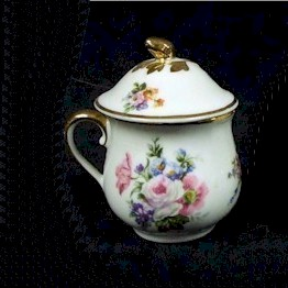 limoges orlic pastel floral pot de creme with gold trim