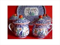 vieux paris blue and red pot de creme set with tray in background
