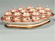 old paris pink and white pot de creme set 12 on tray with gold trim museum quality