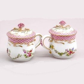 a pair of samson pot de creme cups pink basketweave and flowers
