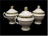 set of 3 old paris pot de creme cups with with gold classic style
