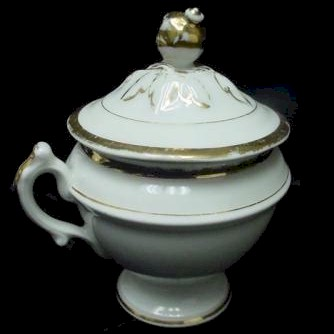 classic old paris pot de creme cup white with gold trim side view