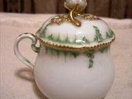 meissen white with green and gold trim pot de creme cup with ornate finial