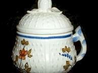 mottahedeh pot de creme ermine tail with flowers and blue trim