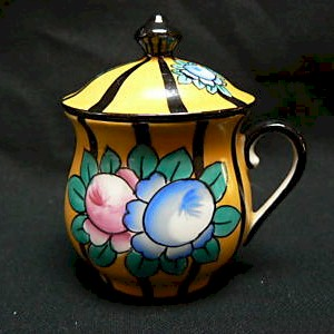 limoges french black and yellow pot de creme cup large flowers and stripes