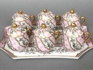 limoges pink grey and gold pot de creme set on tray