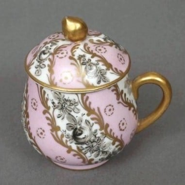 limoges pink grey and gold pot de creme cup side view