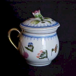 white pot de creme cup blue trim pink rose finial floral design gold handle