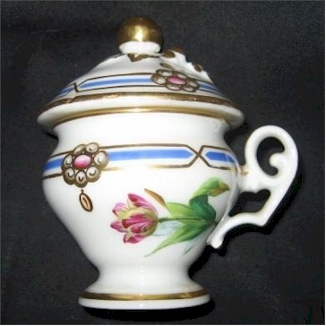 old paris pot d creme cup pink tulip light blue stripe gold trim