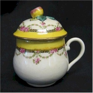 french pot de creme cup with with yellow bands yellow on finial floral swags