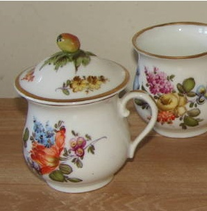 meissen orange and green floral with gold trim pot de creme cup