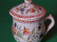 faience desvres pot de creme cup floral design orange trim side view