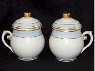 villeroy and boch mettlach pair of baby blue and white pot de creme cups with gold trim