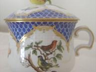herend rothchild pot de creme cup blue with bird design