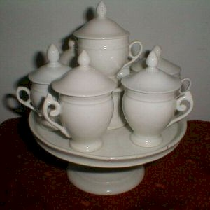 all white empire style pot de creme set with matching single tier tray all cups on tray