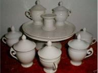 all white empire style pot de creme set with matching single tier tray