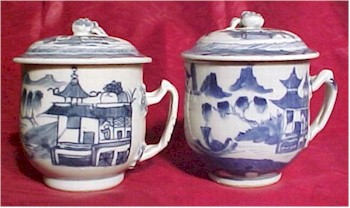 chinese export blue and white pot de creme cup twist handle simple scene front and back views
