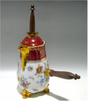 pastaud limoges chocolate pot with wood handle and stirrer gold trim