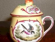 sevres yellow pot de creme cup with bird inset back view