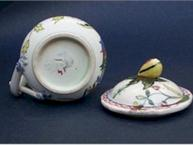 faience floral pot de creme cup bottom, impressed mark lid detail