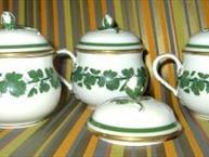 3 meissen white pot de creme with green vines and gold trim