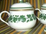 meissen white pot de creme with green vines  cup side