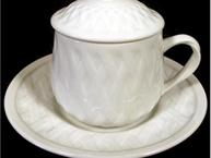 tiffany white pot de creme cup and saucer basketweave pattern
