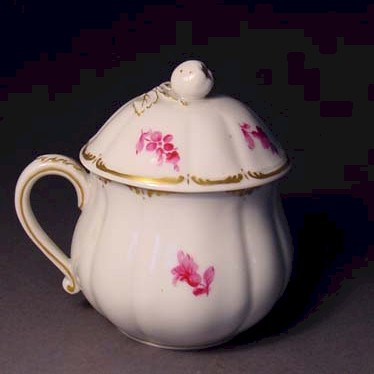 nymphenburg pink and white pot de creme cup little gold trim