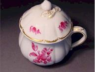 nymphenburg pink and white pot de creme cup lid view