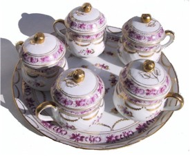 rose decorated pot de creme set with tray